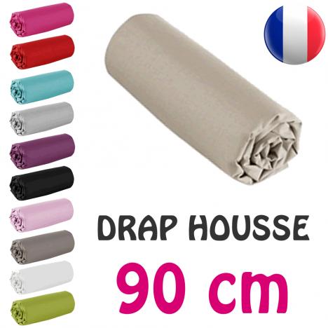 Drap housse lit simple 90x190 cm 100% coton - 11 coloris