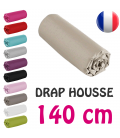 Drap housse lit simple 140x190 cm 100% coton - 11 coloris