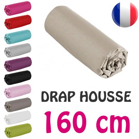 Drap housse lit simple 160x200 cm 100% coton - 11 coloris