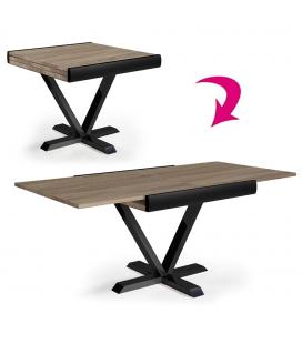Table carrée extensible rallonge intégrée chêne clair