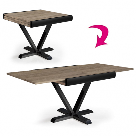Table Extensible Rallonges Integrees.Table Carree Extensible Rallonge Integree Chene Clair