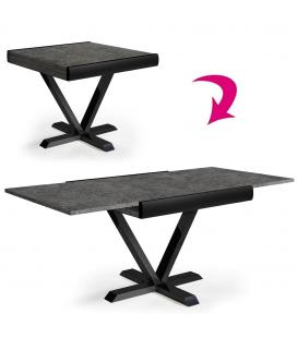 Table carrée extensible effet béton ciré rallonge intégrée