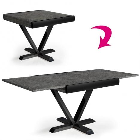 Table carrée extensible effet béton ciré rallonge intégrée -