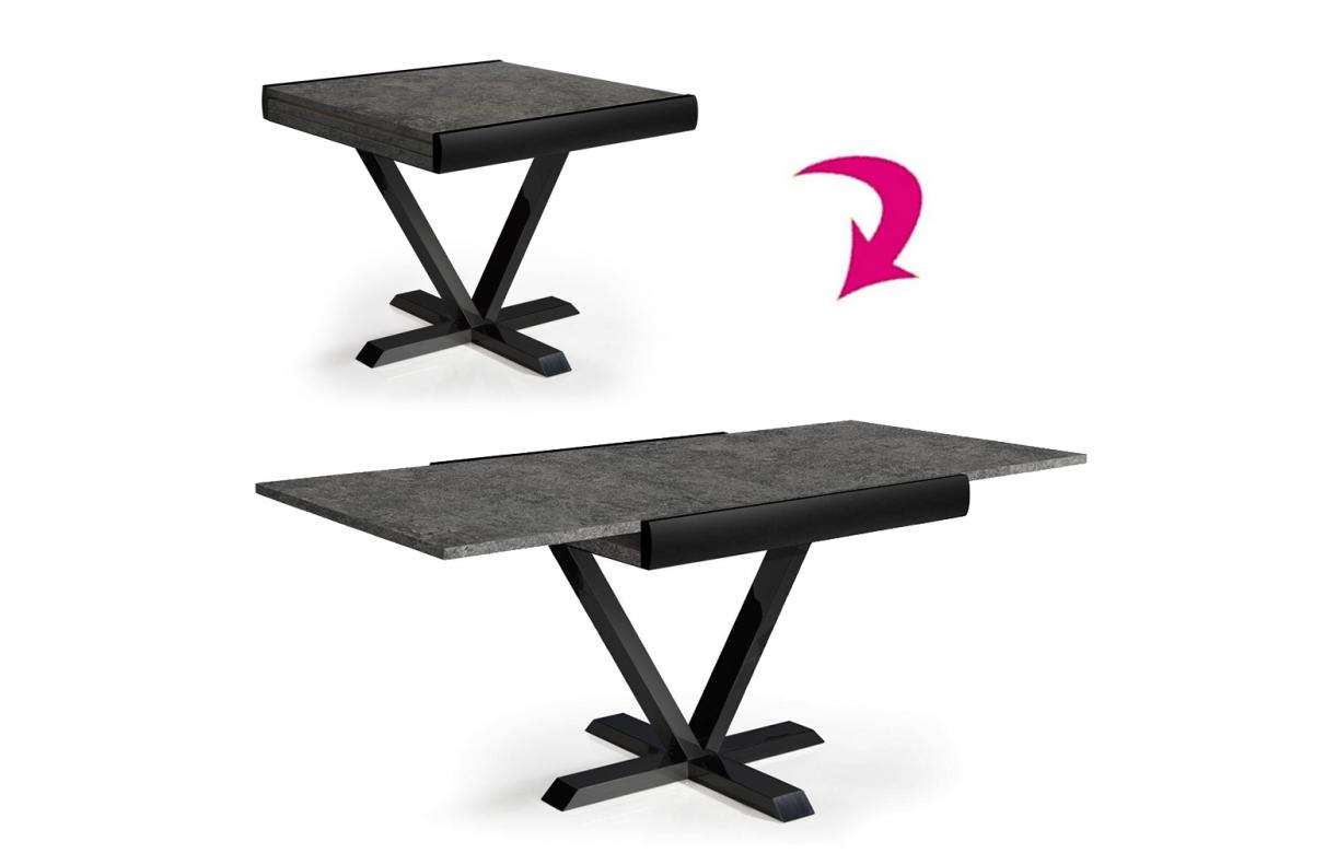 Table En Béton Ciré Et Bois table extensible effet béton rallonge intégrée 90 à 180cm
