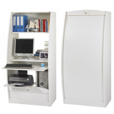 Armoire secrétaire informatique à rideau déroulant Largeur 80cm - 5 coloris -