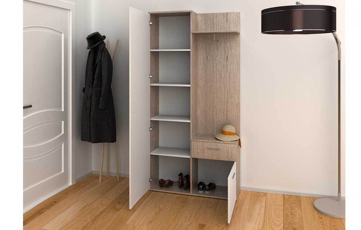 meuble d 39 entr e bois clair chaussures penderie et tiroir. Black Bedroom Furniture Sets. Home Design Ideas