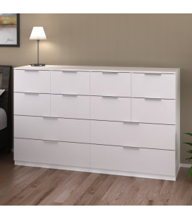 Commode deluxe blanche 12 tiroirs 160 cm Moja