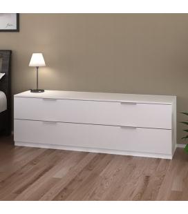 Commode basse 4 tiroirs blanche 160 cm Moja