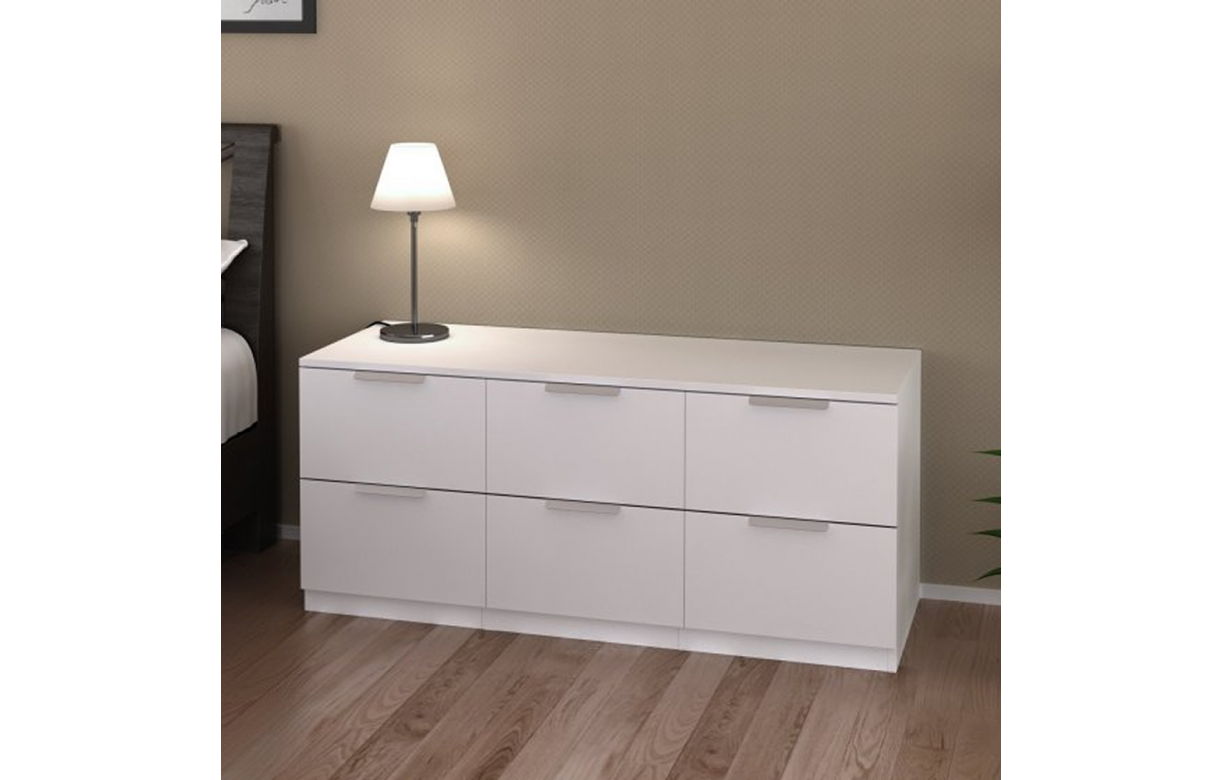 Commode 6 Tiroirs Basse Blanche 120 Cm Moja Decome Store