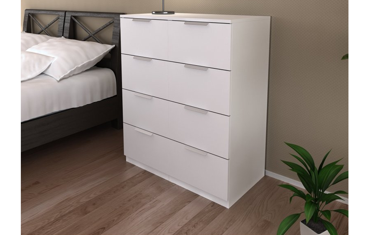 commode 8 tiroirs blanche 80 cm moja. Black Bedroom Furniture Sets. Home Design Ideas