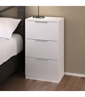 Chevet 3 tiroirs de rangement blanc 40 cm Moja