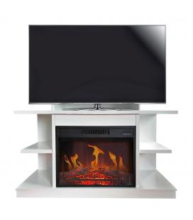 Meuble TV blanc cheminée électrique avec étagères Fuji Cheminarte 147 -