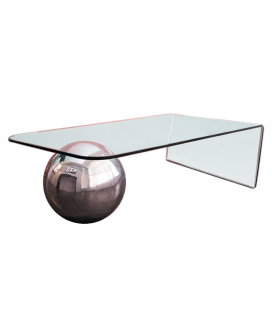 7b9bddb98f19b Table basse en verre design avec boule chromée Largy