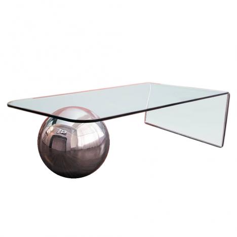 Table basse en verre design avec boule chromée Largy -