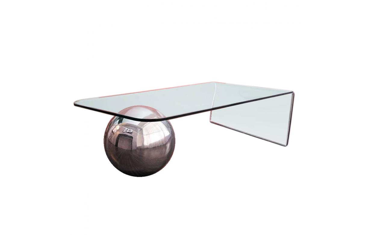 Table basse en verre design avec boule chromée Largy ...