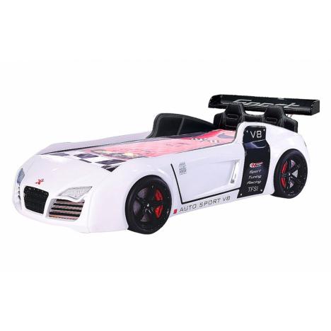 Lit voiture garçon rouge V8 LEDs (lit enfant 90x190) -
