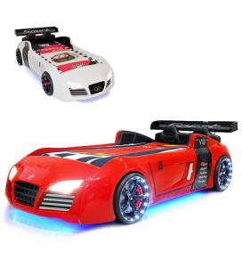 Lit voiture rouge ou blanc sportive V8 à LED 90x190cm