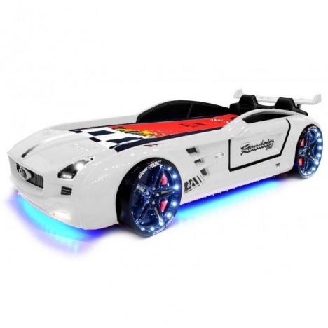 Lit voiture de course LED enfant rouge 90x190cm -