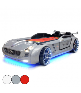 Lit voiture de course LED enfant roadster 90x190cm