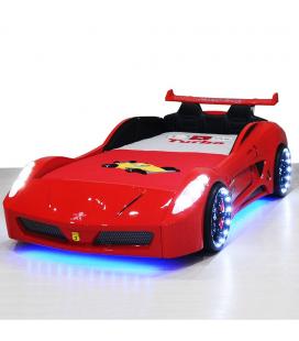 Lit voiture enfant V7 rouge LED 90x190cm