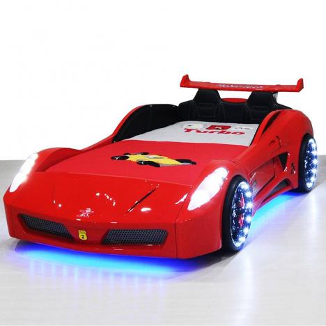 Lit voiture garçon V7 LEDs, lit enfant 90x190 -