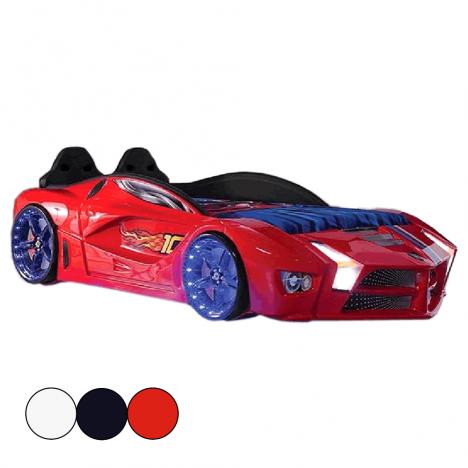 Lit voiture de course rouge sommier inclus 90x190cm -