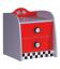 Table de chevet enfant rouge voiture course 2 tiroirs