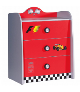 Commode 3 tiroirs enfant rouge voiture course
