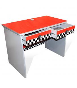 Bureau 2 tiroirs enfant rouge voiture course