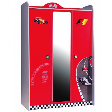 Armoire enfant voiture course rouge miroir + 3 portes