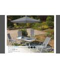 Salon de jardin bleu Table + 4 fauteuils + Parasol Mougins -