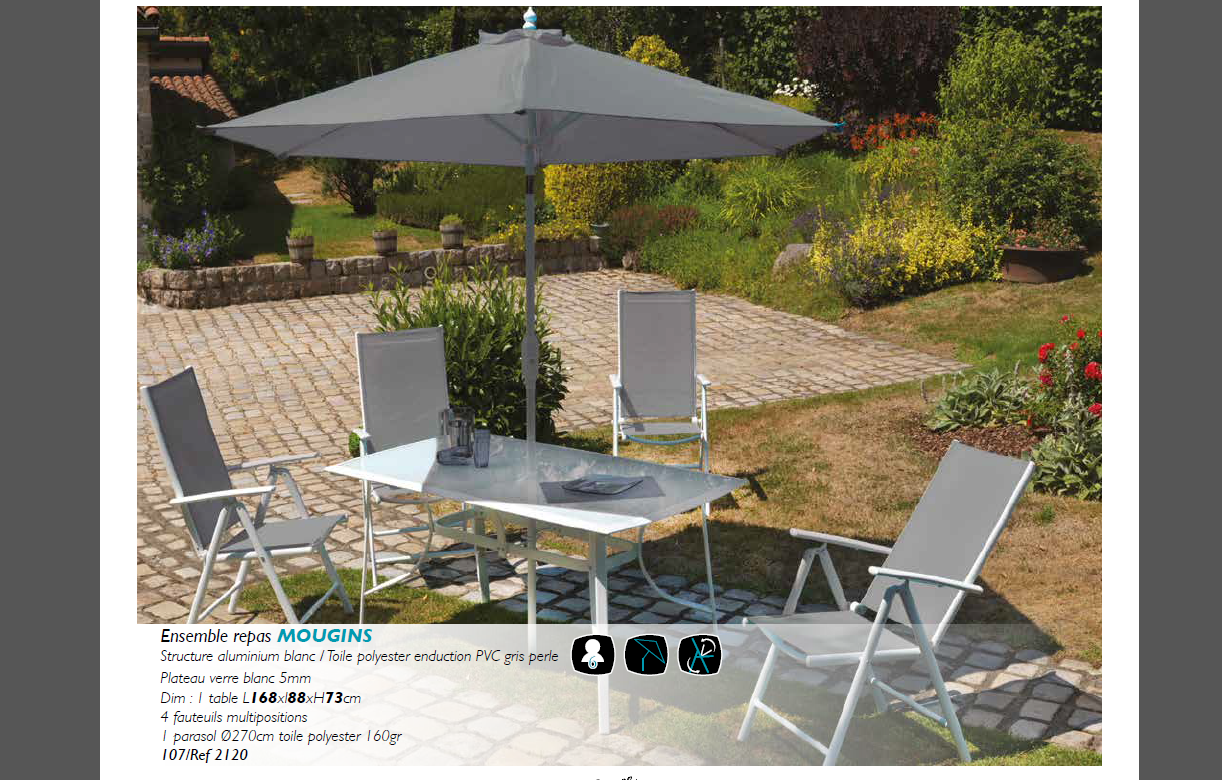 Salon de jardin gris blanc table 4 fauteuils Parasol Mougins