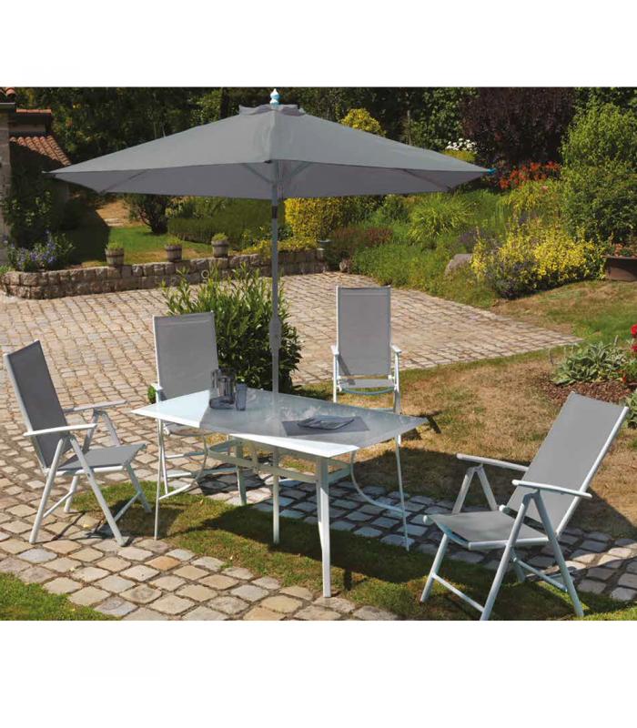 Salon de jardin gris blanc table 4 fauteuils Parasol Mougins