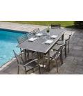 Table extensible d'extérieur effet bois foncé + 8 fauteuils Orlando -