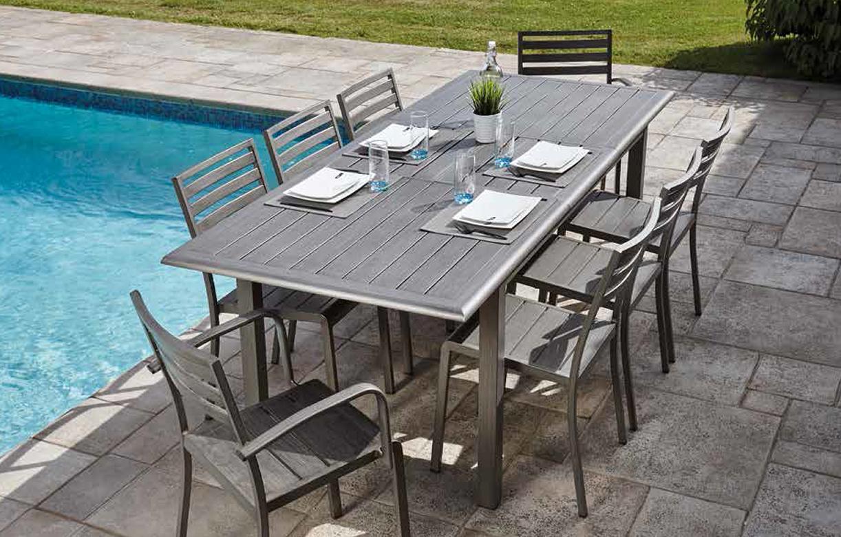 Table Bois Metal Exterieur table exterieur alu effet bois + 8 chaises fauteuils orlando
