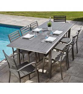 Table exterieur alu effet bois + 8 chaises Orlando