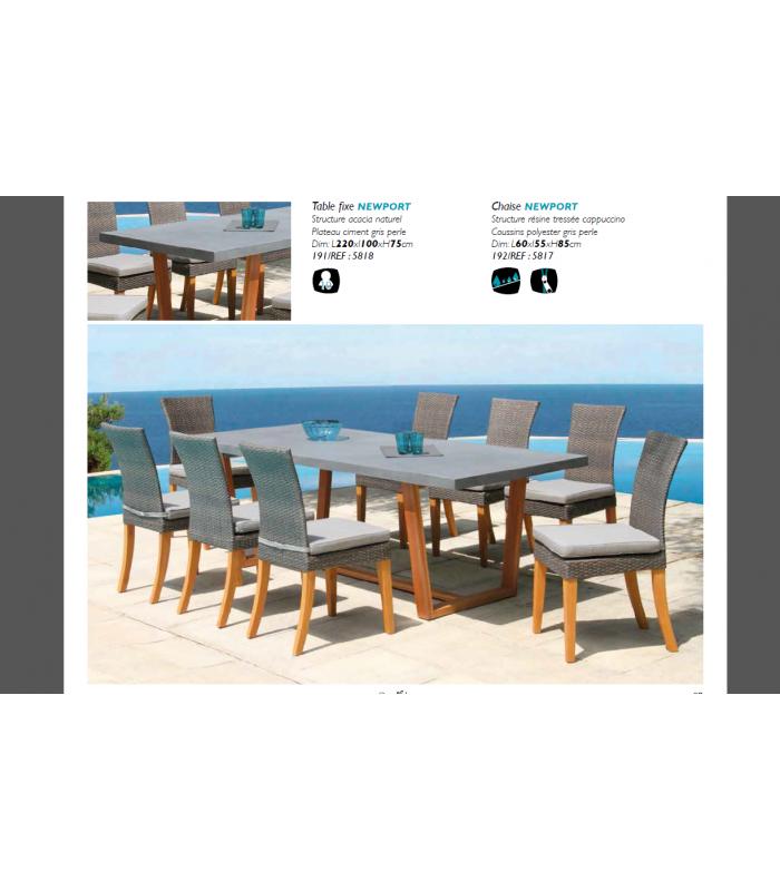 chaises Table de Newport massif plateau jardin béton ciment8 et bois SjLqUzpGVM
