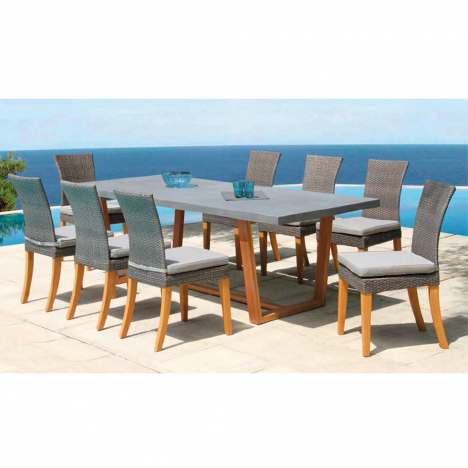 Table de jardin bois massif et plateau béton + 8 chaises