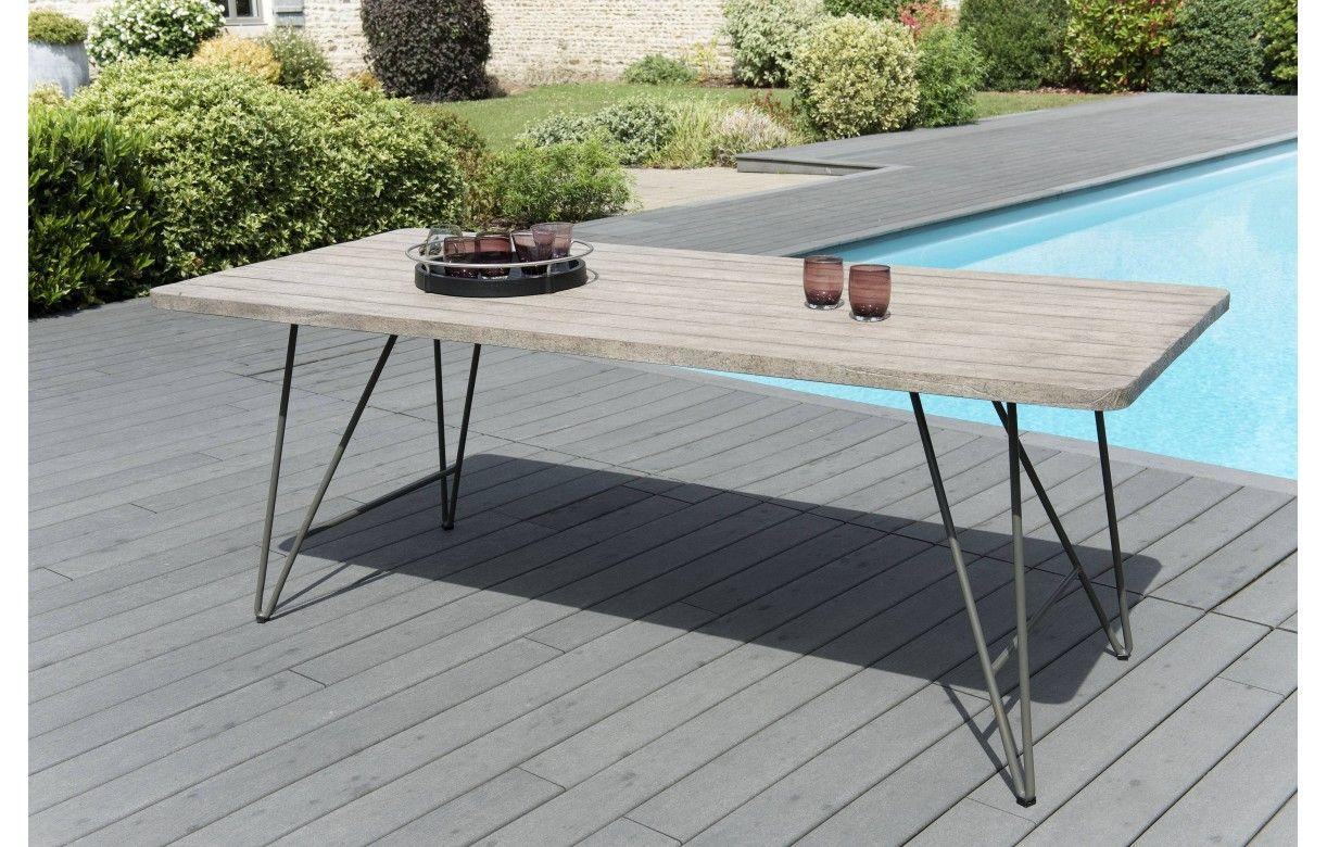 Table Bois Metal Exterieur table à manger de jardin en bois massif et métal bursa
