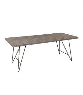 Table d'extérieur rectangle en bois massif et acier