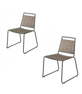 Lot de 2 chaises extérieur empilables en bois BURSA