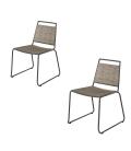 Chaise extérieur design en bois teck et acier - Lot de 2