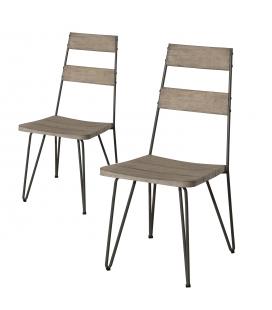 Chaise empilable extérieur en bois et métal - Lot de 2