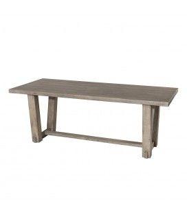 Table extérieur en bois massif clair rectangle moderne