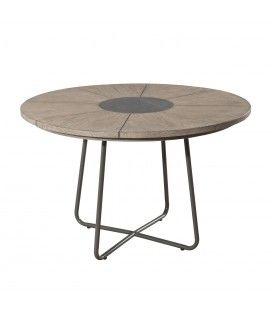 Table ronde extérieur bois massif clair et acier