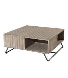Table basse extérieure en bois massif clair BURSA