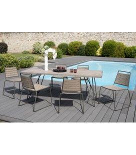 Ensemble extérieur table + 6 chaises bois massif BURSA