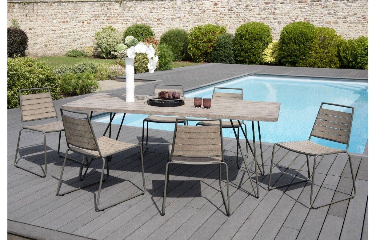 Table Bois Metal Exterieur ensemble extérieur table + 6 chaises bois massif bursa