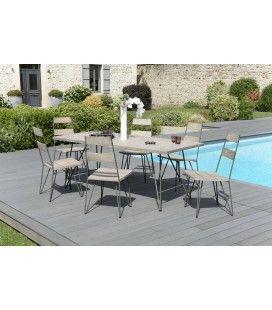 Ensemble table et chaises en bois brut et métal extérieur