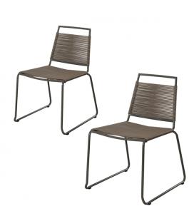 Chaise extérieur empilable design en acier - Lot de 2